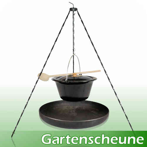 grill komplettpaket feuerschale dreibein st nder gulaschkessel grillrost grillzange holzl ffel. Black Bedroom Furniture Sets. Home Design Ideas